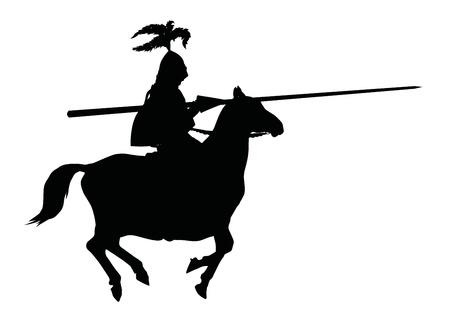 chevalerie: Silhouette d�taill�e du chevalier � la lance � cheval