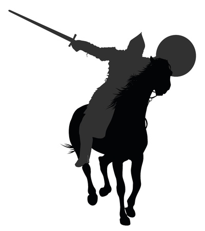 knight horse: Detailed silhouette of ancient warrior  with sword and shield on horseback