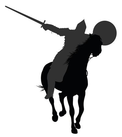 Gedetailleerde silhouet van de oude krijger met zwaard en schild te paard