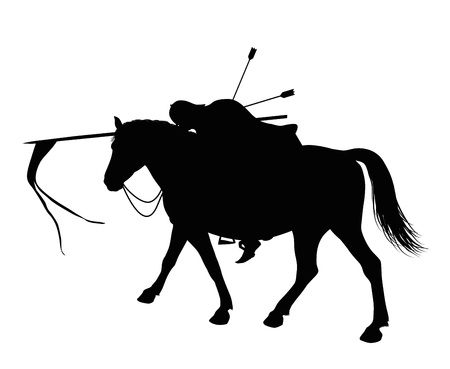 Dead  horseman with flag and arrows sticking  out of his back Vector