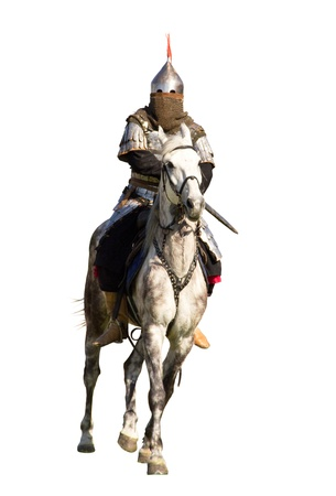 horseback: Ancient warrior with sword riding on horseback isolated over white