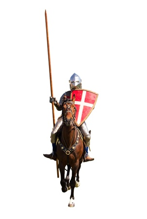 Knight with lance and shield riding on horseback isolated over white Stock Photo