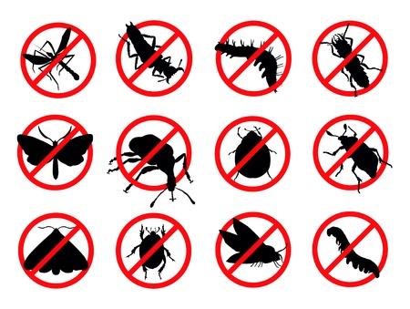 plagas: Plagas siluetas emblema aislado reppelent insectos