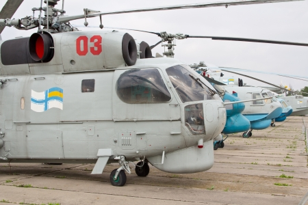 KYIV, UKRAINE- MAY 16  Ukrainian Naval Aviation helicopters and aircraft at State Aviation Museum  on May 16, 2012 in Kyiv, Ukraine