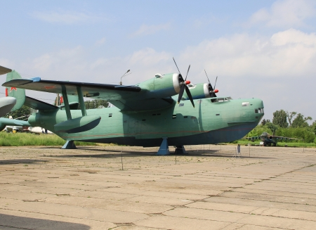 KYIV, UKRAINE- MAY 16  Beriev Be-6 Madge Soviet  patrol flying boat at State Aviation Museum  May 16, 2012 in Kyiv, Ukraine
