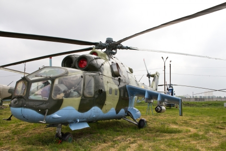 Mil Mi-24a Hind Soviet attack helicopter in airfield