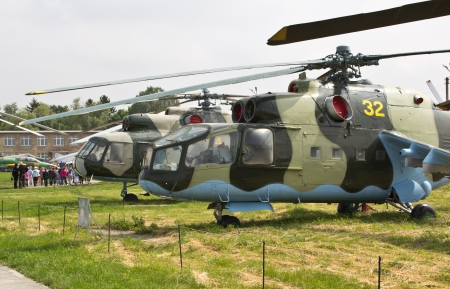 KYIV, UKRAINE- MAY 16  Mil Mi-24A Hind Soviet attack helicopter at State Aviation Museum  on May 16, 2012 in Kyiv, Ukraine