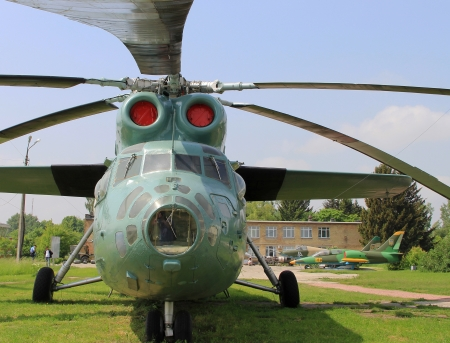 cold war: KYIV, UKRAINE- MAY 16  Mil Mi-6 Hook Soviet  cold war transport helicopter at State Aviation Museum  on May 16, 2012 in Kyiv, Ukraine