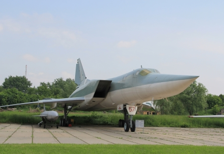 lon: KYIV, UKRAINE- MAY 16  Tupolev  Tu-22M3  Backfire-C Soviet supersonic strategic and maritime strike bomber   at State Aviation Museum  May 16, 2012 in Kyiv, Ukraine
