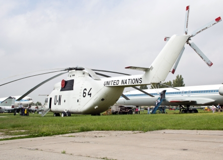 KYIV, UKRAINE- MAY 16: United Nations Mi-26  Halo  heavy transport helicopter at State Aviation Museum  on May 16, 2012 in Kyiv, Ukraine