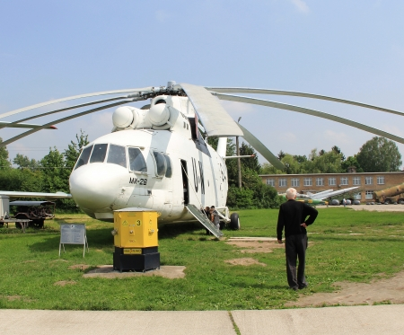 KYIV, UKRAINE- MAY 16: United Nations Mi-26  Halo  heavy transport helicopter at State Aviation Museum  on May 16, 2012 in Kyiv, Ukraine Stock Photo - 13744225