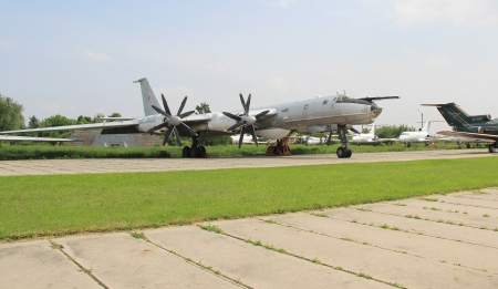 KYIV, UKRAINE- MAY 16: Tupolev Tu-142M3  Bear F  maritime reconnaissance and anti-submarine warfare  aircraft at State Aviation Museum on  May 16, 2012 in Kyiv, Ukraine