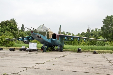 KYIV, UKRAINE- MAY 16: Sukhoi Su-25 Frogfoot Soviet close air support aircraft  at State Aviation Museum  on May 16, 2012 in Kyiv, Ukraine