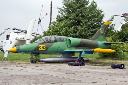 KYIV, UKRAINE- MAY 16: L-39 Albatros jet trainer aircraft at State Aviation Museum  on May 16, 2012 in Kyiv, Ukraine