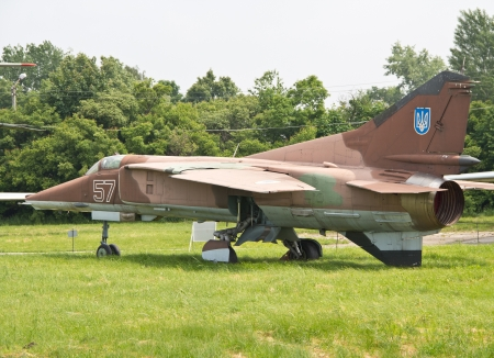 KYIV, UKRAINE- MAY 16:Mig-27 Flogger-D Soviet  ground-attack aircraft at State Aviation Museum  on May 16, 2012 in Kyiv, Ukraine