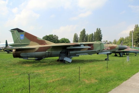 KYIV, UKRAINE- MAY 16:  Mig-23 Flogger Soviet  fighter  at State Aviation Museum  on May 16, 2012 in Kyiv, Ukraine