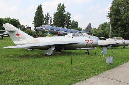 KYIV, UKRAINE- MAY 16: Mikoyan-Gurevich Mig-17 Fresco Soviet jet fighter  at State Aviation Museum  on May 16, 2012 in Kyiv, Ukraine