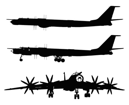 aircraft bomber:  Vector silhouette of Tu-95 Bear Russian strategic bomber  Separate layers Illustration