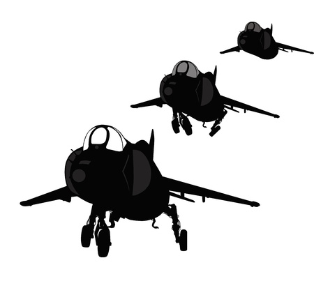 cold war:  Vector silhouette of Yak-38 Forger Soviet VTOL naval fighter  Separate layers
