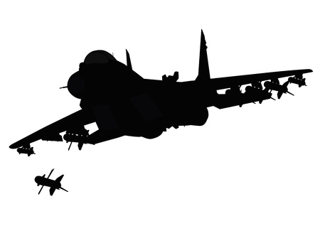 cold war: Flying jet fighter firing missile  Vector silhouette  Separate layers Illustration