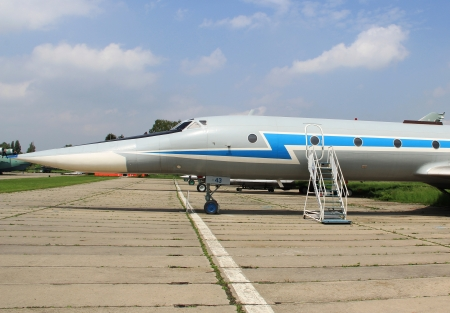 KIEV, UKRAINE- MAY 16: Tupolev  Tu-134UBL bomber aircrew trainer plane at State Aviation Museum on  May 16, 2012 in Kiev, Ukraine Stock Photo - 14128525