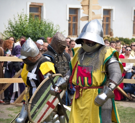 crusades: KAMYANETS-PODILSKY- JUNE 2: Knights in armor during Forpost (The Outpost) Festival of Medieval Culture on June 2, Ukraine Editorial