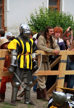 outpost: KAMYANETS-PODILSKY- JUNE 2: Knight in armor during Forpost (The Outpost) Festival of Medieval Culture on June 2, Ukraine