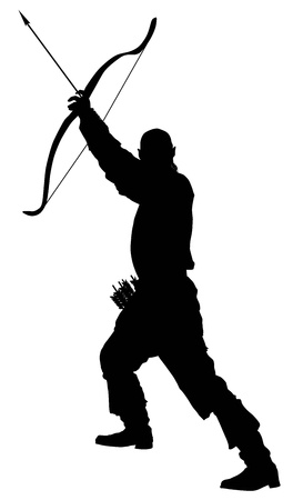 Archer with bow and arrow  Illustration