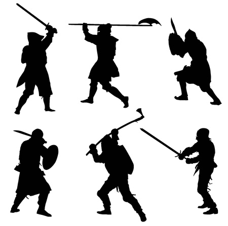 Ancient warriors  detailed silhouettes set