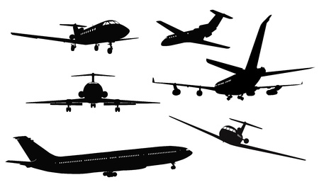 Aircrafts detailed silhouettes set  Separate layers Vector