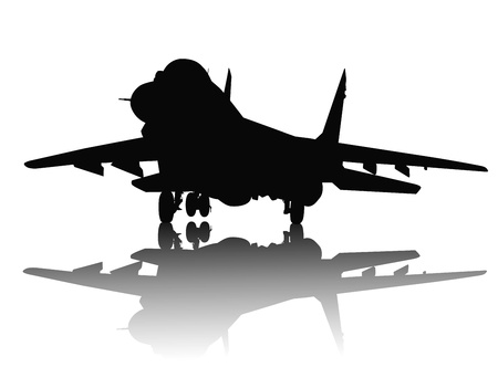 military aircraft: Jet fighter with reflection detailed silhouette  Separate layers
