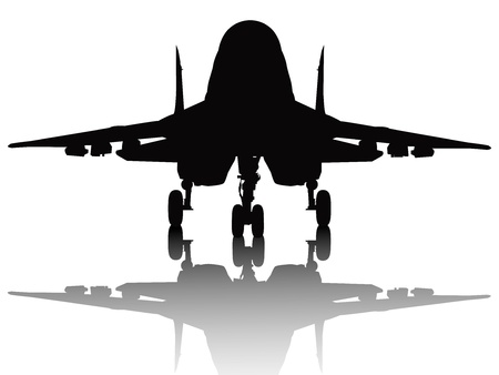 airplane landing: Jet fighter with reflection detailed silhouette  Separate layers