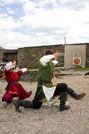 KAMYANETS-PODILSKY- JUNE 2: Shooting archers during Forpost (The Outpost) Festival of Medieval Culture on June 2, Ukraine