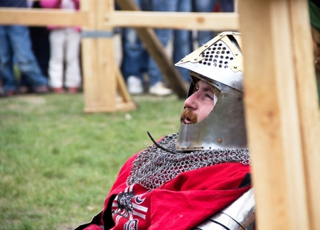 outpost: KAMYANETS-PODILSKY- JUNE 2: Knight during Forpost (The Outpost) Festival of Medieval Culture on June 2, Ukraine