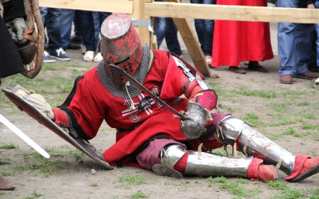 KAMYANETS-PODILSKY- JUNE 2: Knight during Forpost (The Outpost) Festival of Medieval Culture on June 2, Ukraine