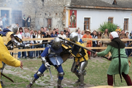outpost: KAMYANETS-PODILSKY- JUNE 2: Fighting knights during Forpost (The Outpost) Festival of Medieval Culture on June 2, Ukraine Editorial