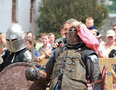 crusades: KAMYANETS-PODILSKY- JUNE 2: Knights during Forpost (The Outpost) Festival of Medieval Culture on June 2, Ukraine