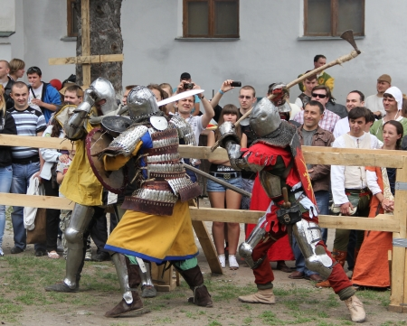 outpost: KAMYANETS-PODILSKY- JUNE 2: Knights battle during Forpost (The Outpost) Festival of Medieval Culture on June 2, Ukraine