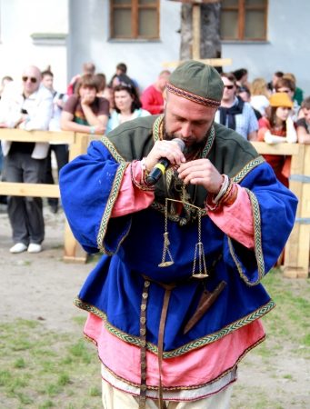 KAMYANETS-PODILSKY- JUNE 2:Viking during Forpost (The Outpost) Festival of Medieval Culture on June 2, Ukraine