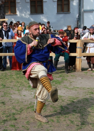 outpost: KAMYANETS-PODILSKY- JUNE 2:Viking during Forpost (The Outpost) Festival of Medieval Culture on June 2, Ukraine