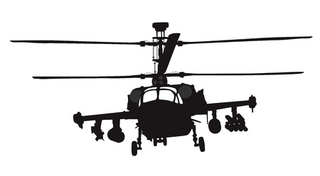 military helicopter: Russian Ka-52  Hokum B  attack helicopter silhouette