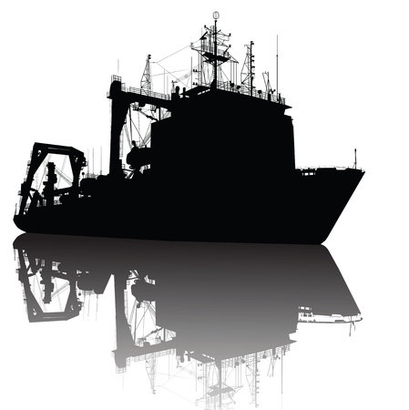 deep sea fishing: Soviet (russian) heavy lifting ship detailed  silhouette on separate layers.