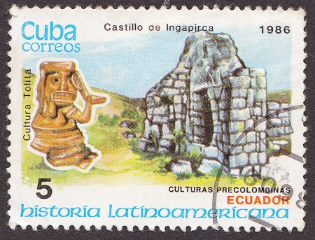 CUBA - CIRCA 1986: A post stamp printed in Cuba shows Castillo de  Ingapirca in Ecuador. Circa 1986