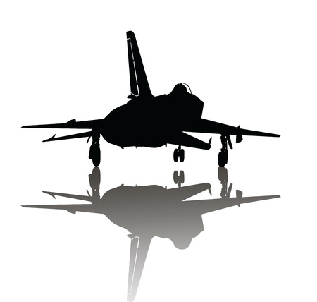 cold war: Silhouette of jet fighter aircraft with reflection Illustration