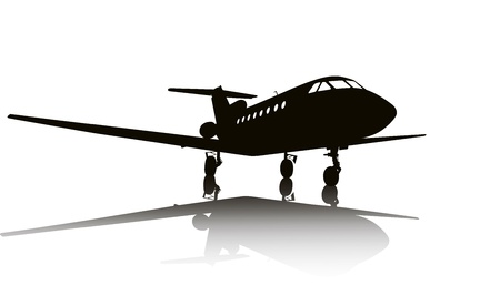 Private jet plane silhouette with reflection.