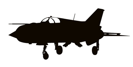 Silhouette of Mig-21 Fishbed  jet fighter aircraft. Vector
