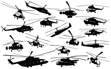 military helicopter: Detailed  helicopter silhouettes set Illustration