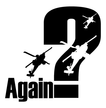 again: Anti war poster with question mark and flying helicopter silhouettes Illustration