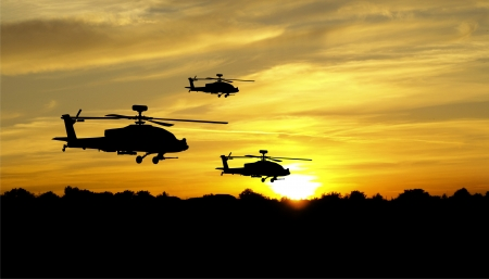 Flying helicopter silhouettes on sunset background Stock Photo - 14518279