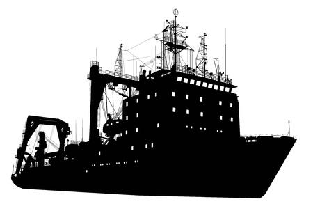 navy ship: Sovi�tico ruso levantar objetos pesados ??Vector silueta detallada barco en capas separadas